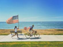 Muž na kole v USA